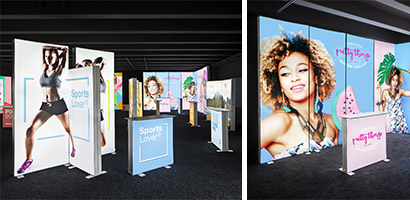 View into the new showroom of Pixlip Go with several colored luminous booth and promotion stands