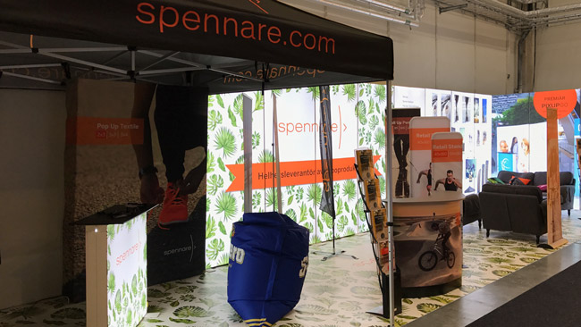 Streched booth of the company Spennare made of Pixlip Go light frames