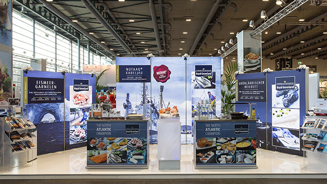 Leuchtender Pixlip Go Messestand für Royal-Greenland in Bremen